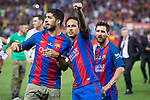FC Barcelona's forward Luis Suarez, forward Neymar Santos Jr and forward Leo Messi after Copa del Rey (King's Cup) Final between Deportivo Alaves and FC Barcelona at Vicente Calderon Stadium in Madrid, May 27, 2017. Spain.<br /> (ALTERPHOTOS/BorjaB.Hojas)