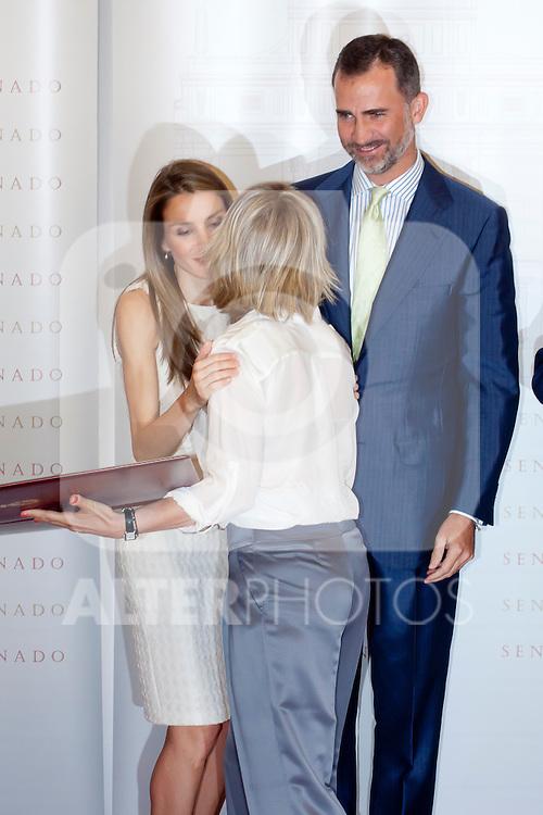 "DELIVERY OF THE IX EDITION OF THE ""LUIS CARANDELL"" PARLIAMENTARY JOURNALISM AT THE HANDS OF THE PRINCES OF ASTURIAS . July 24, 2013. (ALTERPHOTOS/Adrian P. Rincon)<br /> Prince Felipe of Asturias, Princess Litizia of Asturias, María Rey"