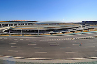 A view of the exterior of Terminal 3 Beijing International Airport. Designed by British architect Lord Norman Foster.