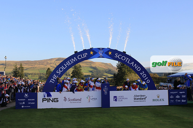 Team Europe at the award ceremony of the Solheim Cup 2019, Gleneagles Golf CLub, Auchterarder, Perthshire, Scotland. 15/09/2019.<br /> Picture Thos Caffrey / Golffile.ie<br /> <br /> All photo usage must carry mandatory copyright credit (© Golffile   Thos Caffrey)