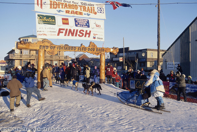 DeeDee Jonrowe Arrives in Nome at Finish Line
