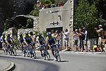 The peleton led by Astana team pass through the medieval village of Salles Sous Bois during the penultimate Stage 19 to Mont Ventoux during the Tour de France 2009 running 167km from Montelimar to Mont Ventoux, France. 25th July 2009 (Photo by Eoin Clarke/NEWSFILE)