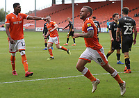Blackpool's Jay Spearing celebrates scoreing his side's second goal  from a penalty kick rebound<br /> <br /> Photographer Rachel Holborn/CameraSport<br /> <br /> The EFL Sky Bet League One - Blackpool v Bradford City - Saturday September 8th 2018 - Bloomfield Road - Blackpool<br /> <br /> World Copyright &copy; 2018 CameraSport. All rights reserved. 43 Linden Ave. Countesthorpe. Leicester. England. LE8 5PG - Tel: +44 (0) 116 277 4147 - admin@camerasport.com - www.camerasport.com