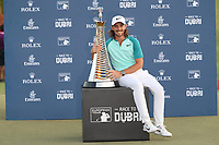 Tommy Fleetwood (ENG) winner of the Race to Dubai Championship at the season ending DP World Tour Championship, Jumeirah Golf Estates, Dubai, United Arab Emirates. 19/11/2017<br /> Picture: Golffile | Fran Caffrey<br /> <br /> <br /> All photo usage must carry mandatory copyright credit (© Golffile | Fran Caffrey)