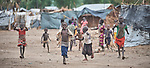 Children run in the Doro Refugee Camp in Maban, South Sudan. The camp is one of four in Maban that together shelter more than 130,000 refugees from the Blue Nile region of Sudan.<br /> <br /> Misean Cara supports the work of Jesuit Refugee Service in the Maban camps.
