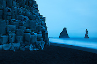 This black sand beach is a very popular stop in Iceland, which means bus loads of tourists, even in the howling wind.  Late in the evening, there is a time photographers call the blue hour.  When taking this photo, the rocks certainly did not appear this blue, but that is the way the image turned out so I retained the color during my processing.  Seth, a fellow photographer who invited me on this trip to Iceland, had great fun laughing at the tourists and photographers being caught off guard by the occasional large rogue wave.