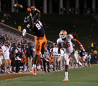 Virginia wide receiver Canaan Severin (84) misses a pass in front of Clemson defensive back Cordrea Tankersley (25) during the game Saturday at Scott Stadium in Charlottesville, VA. Clemson defeated Virginia 59-10.  Photo/Andrew Shurtleff