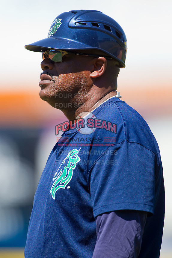 Charlotte Knights hitting coach Gary Ward #32 coaches first base during an International League game against the Norfolk Tides at Knights Stadium July 5, 2010, in Fort Mill, South Carolina.  Photo by Brian Westerholt / Four Seam Images