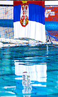 Celebration victory SERBIA FLAG <br /> SRB -ESP Serbia (white caps) vs. Spain (blue caps) <br /> Barcelona 28/07/2018 Piscines Bernat Picornell <br /> Men Final 1st 2nd place <br /> 33rd LEN European Water Polo Championships - Barcelona 2018 <br /> Photo Andrea Staccioli/Deepbluemedia/Insidefoto