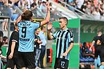 11.08.2019, Carl-Benz-Stadion, Mannheim, GER, DFB Pokal, 1. Runde, SV Waldhof Mannheim vs. Eintracht Frankfurt, <br /> <br /> DFL REGULATIONS PROHIBIT ANY USE OF PHOTOGRAPHS AS IMAGE SEQUENCES AND/OR QUASI-VIDEO.<br /> <br /> im Bild: Valmir Sulejmani (SV Waldhof Mannheim #9), Gianluca Korte (SV Waldhof Mannheim #17)<br /> <br /> Foto © nordphoto / Fabisch