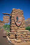Entrance sign at Zion National Park, near Springdale, UTAH