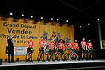 Lotto-Soudal on stage at the Team Presentations for the 105th Tour de France 2018 held on Napoleon Square in La Roche-sur-Yon, France. 5th July 2018. <br /> Picture: ASO/Bruno Bade | Cyclefile<br /> All photos usage must carry mandatory copyright credit (&copy; Cyclefile | ASO/Bruno Bade)