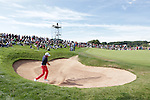 Frenchman Gregory Bourdy splashes out of the sand on the 10th hole during the final round of the ISPS Handa Wales Open 2013 at the Celtic Manor Resort.<br /> <br /> 01.09.13<br /> <br /> &copy;Steve Pope-Sportingwales