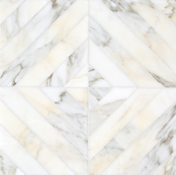 Lars, a hand-cut stone mosaic, show in polished Calacatta Gold, is part of the Semplice® collection for New Ravenna.