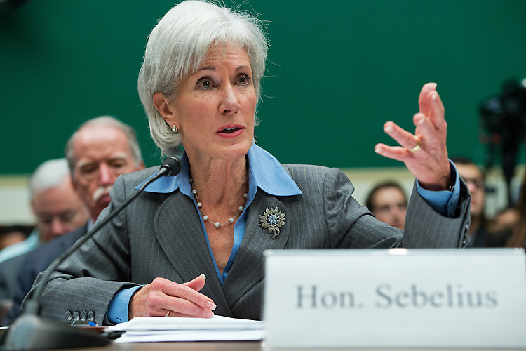 UNITED STATES - OCTOBER 30: HHS Secretary Kathleen Sebelius testifies during a House Energy and Commerce Committee hearing in Rayburn Building on the failures of Affordable Care Act's enrollment website. (Photo By Tom Williams/CQ Roll Call)