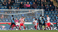 Luke Wilkinson of Stevenage diving header goes close during the Sky Bet League 2 match between Wycombe Wanderers and Stevenage at Adams Park, High Wycombe, England on 12 March 2016. Photo by Andy Rowland/PRiME Media Images.