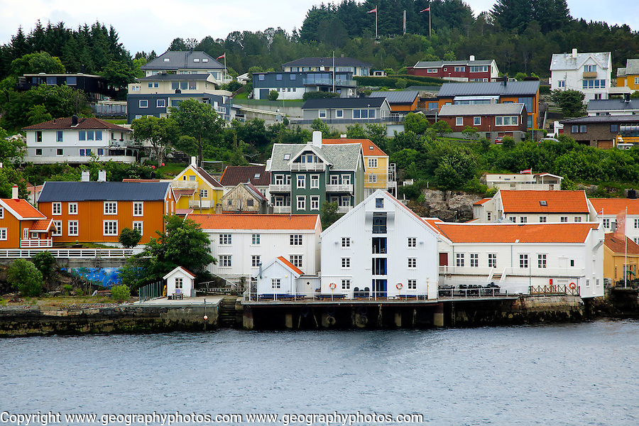 Traditional houses in coastal town of Kristiansund, Romsdal county, Norway