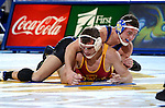 BROOKINGS, SD - NOVEMBER 4:  Martin Mueller from South Dakota State gets riding time on Carson Powell from Iowa State in their 184 pound match Friday evening at Frost Arena in Brookings. (Photo by Dave Eggen/Inertia)