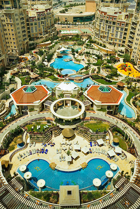 Al  Murooj Rotana Hotel and apartments, pool and recreation area.   Dubai. United Arab Emirates.
