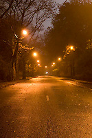 THIS IMAGE IS AVAILABLE EXCLUSIVELY FROM GETTY IMAGES.  ....Please search for image  # sb10066168c-001 at www.gettyimages.com....Empty Road Scene with Illuminated Street Lights at Night in Central Park....New York City, New York State, USA