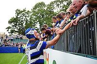 Leroy Houston of Bath Rugby mingles with supporters after the match. Aviva Premiership match, between Bath Rugby and Worcester Warriors on September 17, 2016 at the Recreation Ground in Bath, England. Photo by: Patrick Khachfe / Onside Images