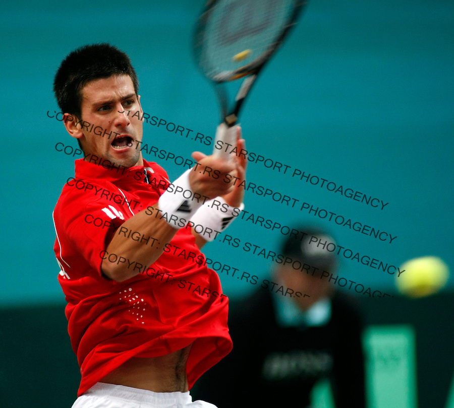 Tennis, Davis Cup, play off.Slovakia Vs. Serbia.Dominik Hrbaty (SLK)-Novak Djokovic (SER).Novak Djokovic.Bratislava, 09.19.2008.Photo: Srdjan Stevanovic.