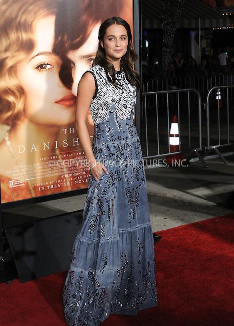 WWW.ACEPIXS.COM<br /> <br /> November 21 2015, LA<br /> <br /> Alicia Vikander arriving at the premiere of Focus Features' 'The Danish Girl' at the Westwood Village Theatre on November 21, 2015 in Westwood, California. <br /> <br /> <br /> By Line: Peter West/ACE Pictures<br /> <br /> <br /> ACE Pictures, Inc.<br /> tel: 646 769 0430<br /> Email: info@acepixs.com<br /> www.acepixs.com