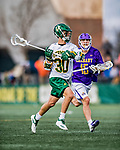 6 April 2019:  University of Vermont Catamount Midfielder Sal Iaria, a Freshman from Bainbridge Island, WA, in action against the University at Albany Great Danes on Virtue Field in Burlington, Vermont. The Cats rallied to defeat the Danes 10-9 in America East divisional play. Mandatory Credit: Ed Wolfstein Photo *** RAW (NEF) Image File Available ***