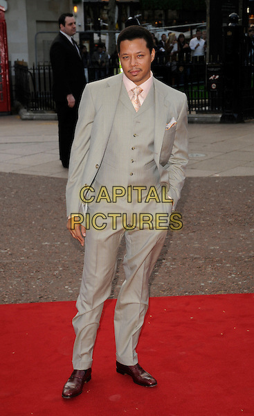 "TERRENCE HOWARD.UK Premiere of ""Iron Man"" at the Odeon, Leicester Square, London, England..April 24th 2008.full length grey gray suit waistcoat hand in pocket .CAP/CAN.©Can Nguyen/Capital Pictures."