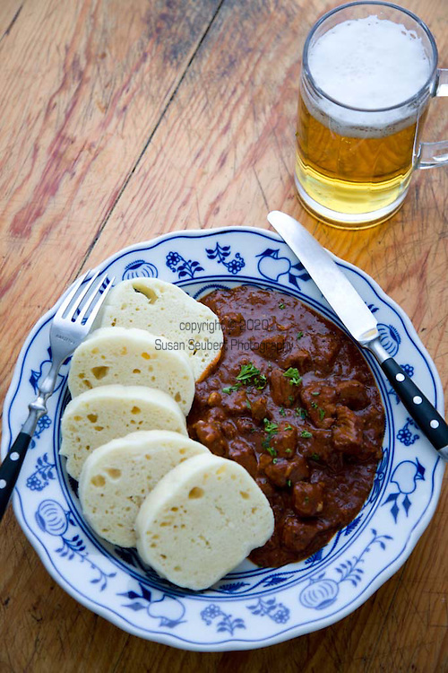 Czech Beef Goulash with Dumplings and beer