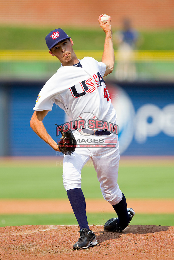 Hoby Milner #43 (Texas) of the USA Baseball Collegiate National Team in action against the Japan Collegiate National Team at the Durham Bulls Athletic Park on July 3, 2011 in Durham, North Carolina.  USA defeated Japan 7-6.  (Brian Westerholt / Four Seam Images)