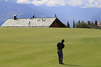 Fabrizio Zanotti (PAR) chips onto the 7th green during Sunday's Final Round of the 2017 Omega European Masters held at Golf Club Crans-Sur-Sierre, Crans Montana, Switzerland. 10th September 2017.<br /> Picture: Eoin Clarke | Golffile<br /> <br /> <br /> All photos usage must carry mandatory copyright credit (&copy; Golffile | Eoin Clarke)