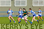 Kerry's Erica McGlynn trying to gain possession despite the efforts of Emma Murray of Waterford in the LGFA National football league in Strand Road on Saturday.