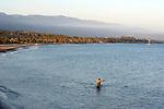Surf fisherman at Santa Barbara, CA