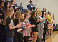 NWA Democrat-Gazette/BEN GOFF @NWABENGOFF<br /> Students clap after a talk Monday, May 1, 2017, by Miss America Savvy Shields speaks during a presentaiton with Gov. Asa Hutchinson at Fulbright Junior High in Bentonville to kick off a new initiative called 'Healthy Active Arkansas.'
