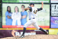 Trenton Thunder  pitcher Danny Burawa (48) during game against the Altoona Curve at ARM & HAMMER Park on August 6, 2014 in Trenton, NJ.  Trenton defeated Altoona 7-3.  (Tomasso DeRosa/Four Seam Images)