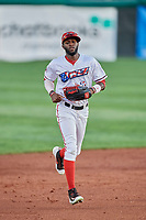 Torii Hunter (2) of the Orem Owlz runs off the field against the Ogden Raptors at Home of the Owlz on September 11, 2017 in Orem, Utah. Ogden defeated Orem 7-3 to win the South Division Championship. (Stephen Smith/Four Seam Images)