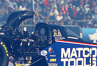 Feb. 22, 2013; Chandler, AZ, USA; Detailed view of the canopy on the car of NHRA top fuel dragster driver Antron Brown during qualifying for the Arizona Nationals at Firebird International Raceway. Mandatory Credit: Mark J. Rebilas-