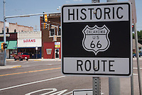 Historic Oklahoma Route 66 sign in El Reno.