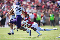 STANFORD, CA -- August 31, 2019. The Stanford Cardinal football team defeats the Northwestern Wildcats 17-7 at Stanford Stadium.