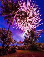 Fireworks on Independence Day, Waialua Beach, O'ahu.