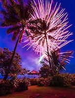 Fireworks on Independence Day, Waialua Beach, O'ahu.