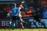 Blackpool's Armand Gnanduillet scores his side's second goal <br /> <br /> Photographer Richard Martin-Roberts/CameraSport<br /> <br /> The EFL Sky Bet League One - Blackpool v Fleetwood Town - Saturday 14th April 2018 - Bloomfield Road - Blackpool<br /> <br /> World Copyright &copy; 2018 CameraSport. All rights reserved. 43 Linden Ave. Countesthorpe. Leicester. England. LE8 5PG - Tel: +44 (0) 116 277 4147 - admin@camerasport.com - www.camerasport.com