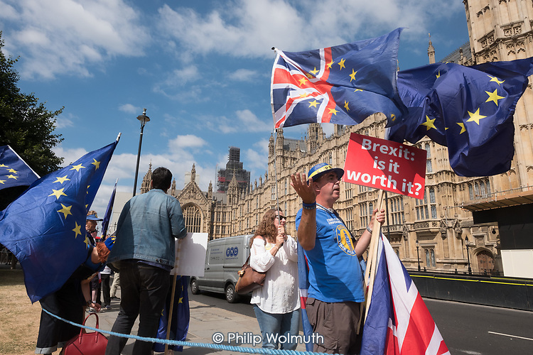 BREXIT IS IT WORTH IT. Protest outside the Houses of Parliament, Westminster, London.