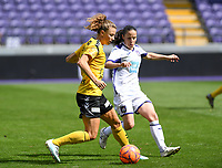 20190810 - ANDERLECHT, BELGIUM : Anderlecht's Stefania Vatafu (r) pictured defending on LSK's Synne Skinnes Hansen (left) during the female soccer game between the Belgian RSCA Ladies – Royal Sporting Club Anderlecht Dames  and the Norwegian LSK Kvinner Fotballklubb ladies , the second game for both teams in the Uefa Womens Champions League Qualifying round in group 8 , saturday 10 th August 2019 at the Lotto Park Stadium in Anderlecht  , Belgium  .  PHOTO SPORTPIX.BE for NTB NO | DAVID CATRY