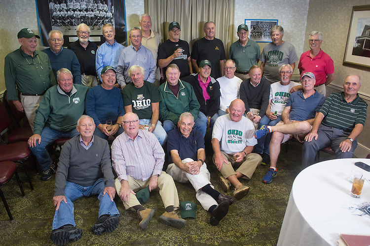 1960s Hockey Alumni From Left to Right Top: John Sebok, Bob Hayes, Tom Belton, Jerry Nuerge, Dave Farnsworth, John Gardner, Alex MacNicol, Mike Grocki, Jake Peterson, Dennis Corbett, Tiff Cook<br /> Middle Row: Bing Carlson, Tom Gosiorowski, Joe Zieleniewski, Al Haines, Pete Sisson, Harry Williams, Ken Arvidson, Frank Meyers, Dick Hendrie, Kick Homoveo<br /> Bottom Row: Elmer Gates, Ken Gamble, Mike L'Heureux, Doug Smith