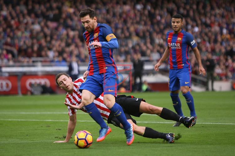 League Santander 2016/2017. Game: 21.<br /> FC Barcelona vs Athletic Club: 3-0.<br /> De Marcos vs Lionel Messi.