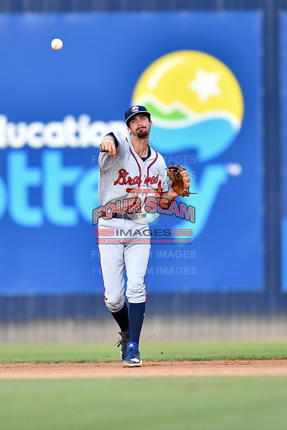 Rome Braves shortstop Braden Shewmake (39) throws to first base during a game against the Asheville Tourists at McCormick Field on July 18, 2019 in Asheville, North Carolina. The Tourists defeated the Braves 4-3. (Tony Farlow/Four Seam Images)