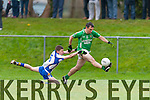Milltown/Castlemaine legend Ian Twiss  shows great control in his last eveer game to go past Shane Prenderville Keel during the Mid Kerry final in Killorglin on Sunday