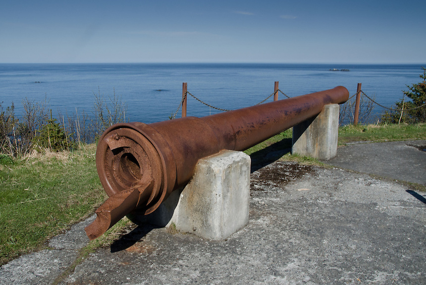 Cannon at WWII Battle Mount, Kodiak Island, Alaska, US